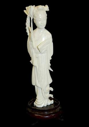 """Chinese carved ivory 5"""" Quan Yin figurine"""