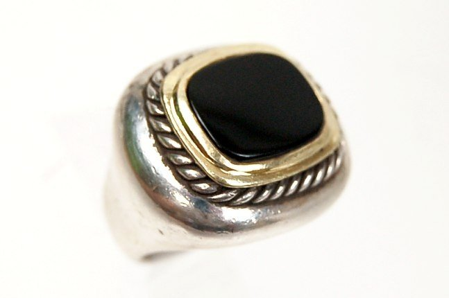 14: David Yurman 14K & sterling onyx ring