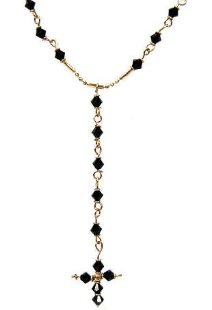 """10K gold and black crystal 24"""" Rosary"""