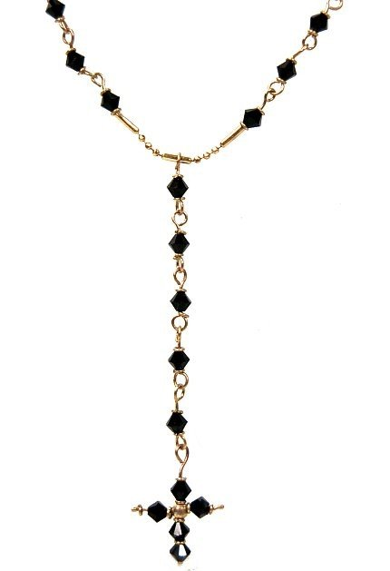 "21: 10K gold and black crystal 24"" Rosary"