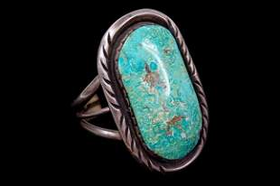 Vintage Navajo old pawn sterling turquoise cuff