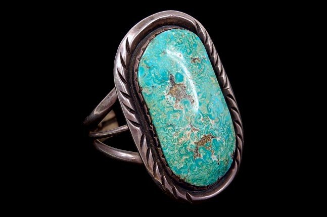 24: Vintage Navajo old pawn sterling turquoise cuff