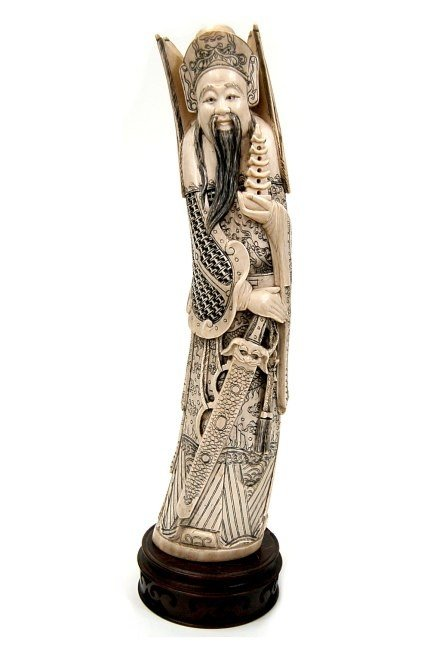 97: FINE Chinese carved ivory Emperor figurine
