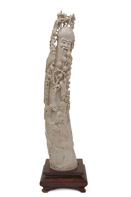 "106: Large Chinese 20"" carved ivory traveler figurine"