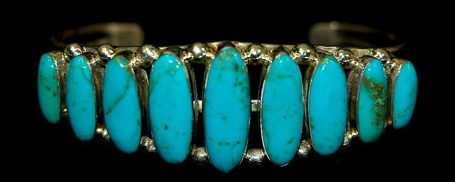 15: Navajo sterling turquoise 9 stone cuff