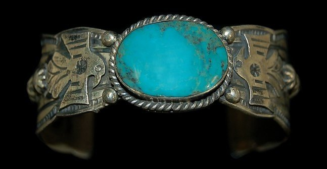 16: Navajo sterling Thunderbird turquoise cuff