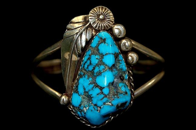 18: Navajo sterling Kingman turquoise cuff