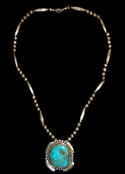 "20: Navajo sterling turquoise pendant 26"" necklace"
