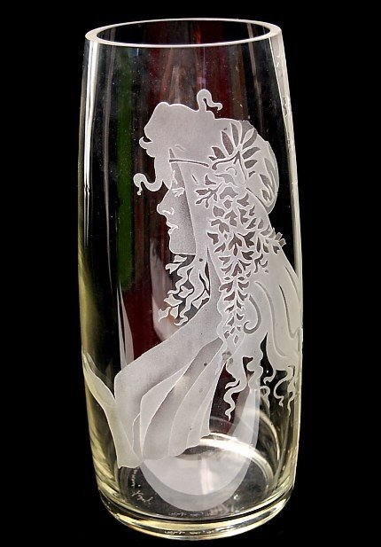 "21: Perry Coyle etched Art Glass 12.5"" vase"