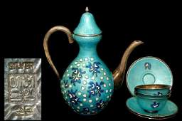 86 Chinese sterling silver cloisonn tea set