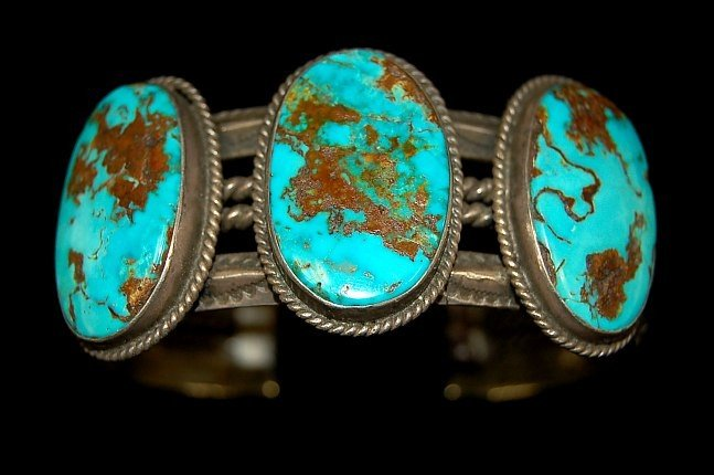 7: Navajo old pawn sterling turquoise cuff
