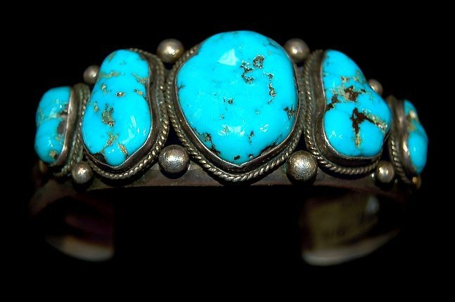 11: Navajo sterling turquoise 5 stone cuff