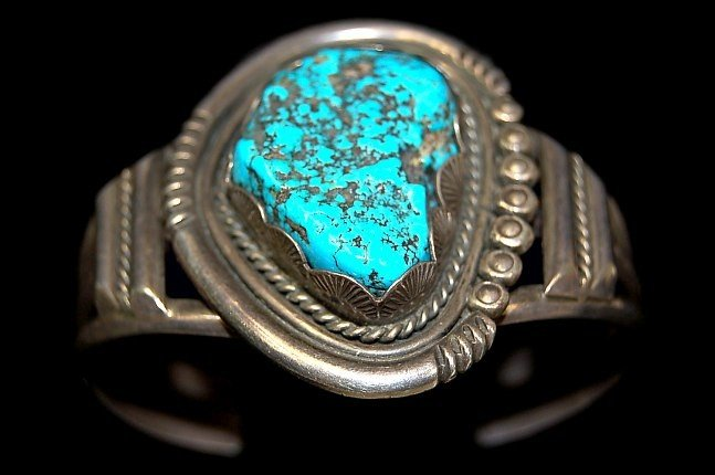 9: Navajo old pawn sterling Kingman turquoise cuff
