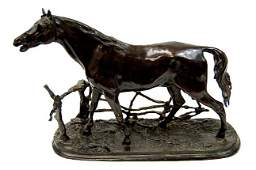 91 Mene bronze sculpture Cheval a la Barrier