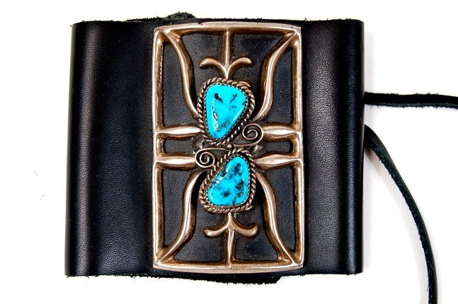 12A: Navajo sterling turquoise leather bow guard