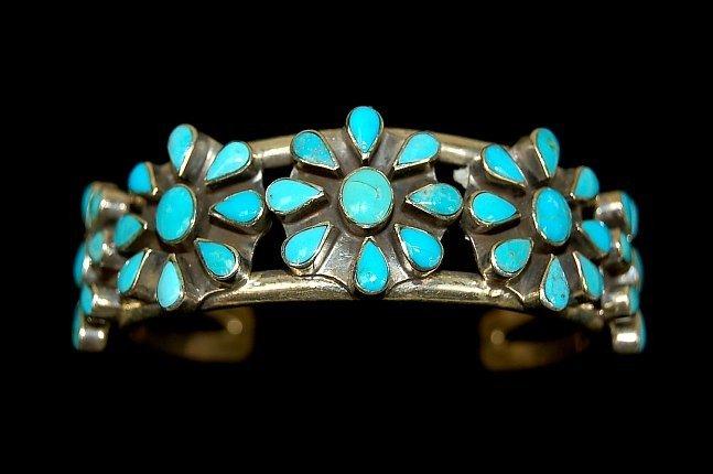 12B: Navajo lady's sterling 45 stone cuff