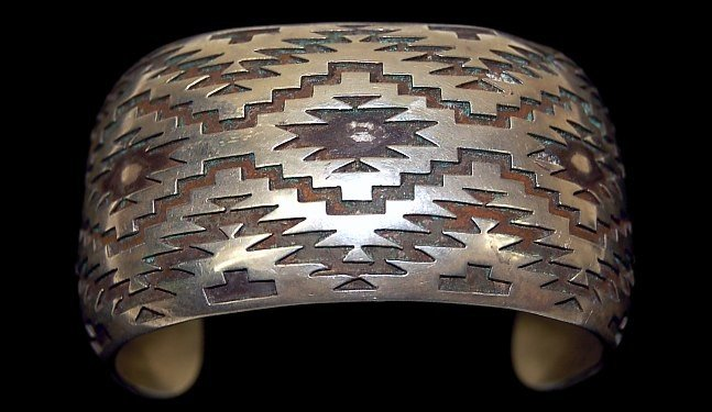 17: FINE Hopi overlay sterling cuff