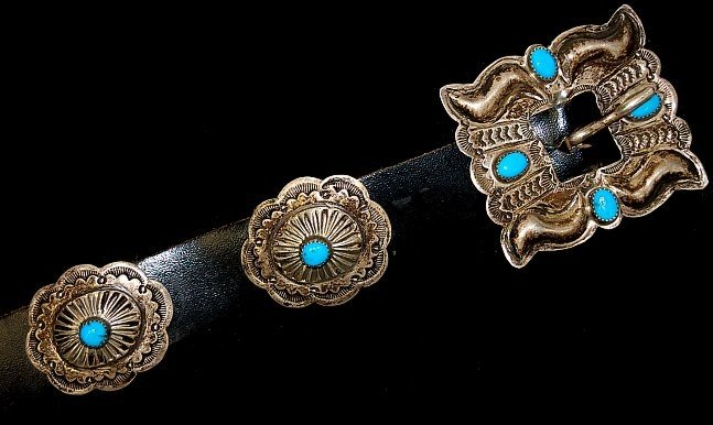 25: Benson Yazzi Navajo sterling turquoise concho belt