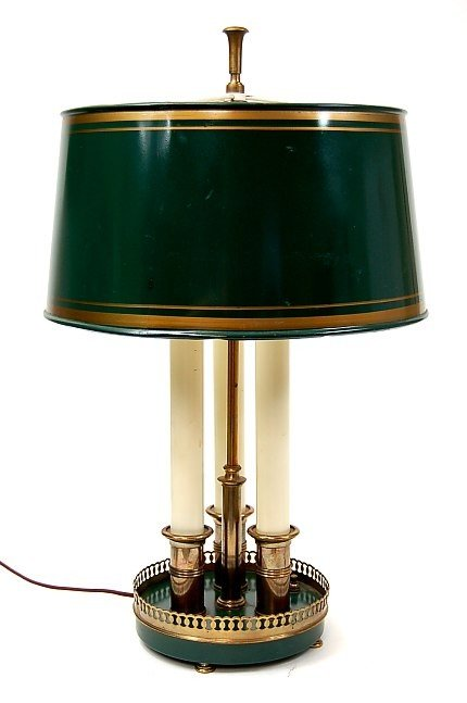 39: 1930's-1940's 3 light brass table lamp