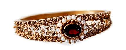 31 Victorian 18K garnet pearl bangle