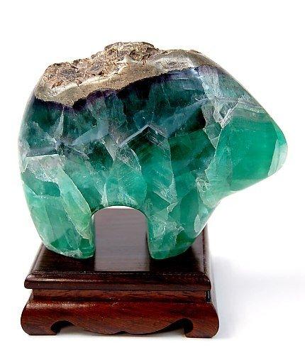 8: Green carved quartz crystal bear fetish