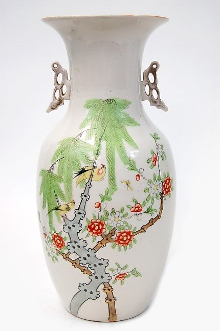 14: Chinese ceramic 2 handle bird vase