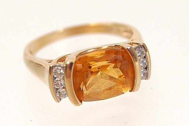 15: Estate 14K citrine diamond ring