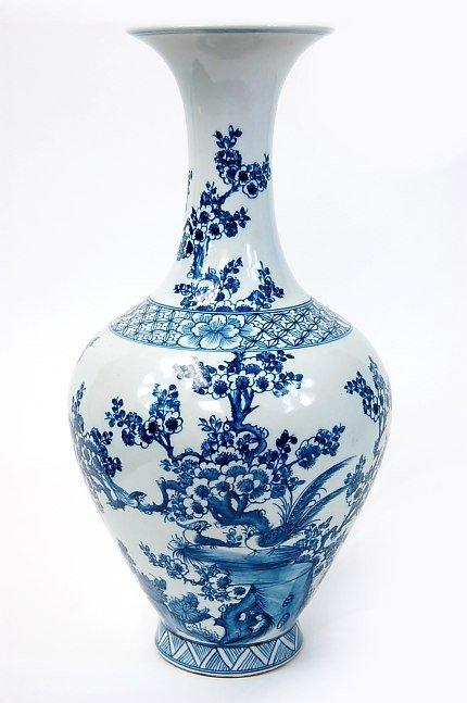 """16: Chinese blue & white 16"""" bulbous vase"""