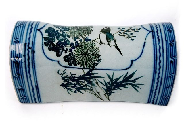 18: Antique Chinese porcelain hand painted pillow
