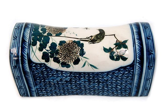 19: Antique Chinese porcelain hand painted pillow