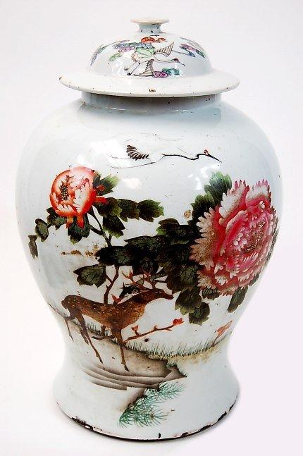 6: Chinese lidded porcelain vase 18th-19th cen.