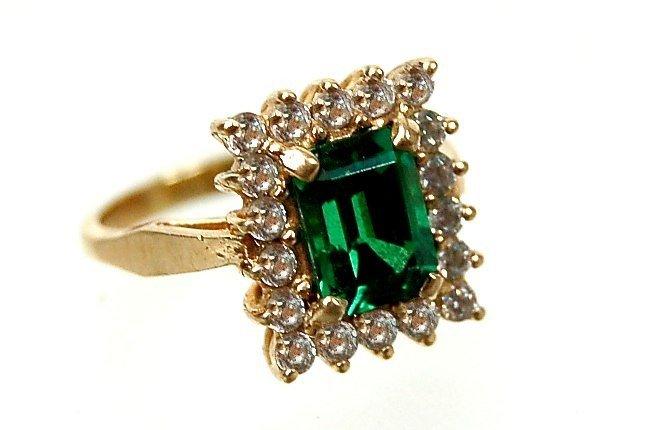 4: 10K synthetic emerald & cubic zirconium ring