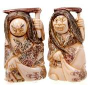 34A: Pair of Japanese carved ivory netsukes