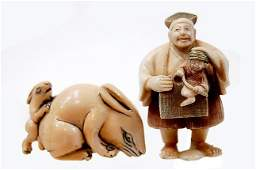 13A Pair of Japanese carved ivory netsukes