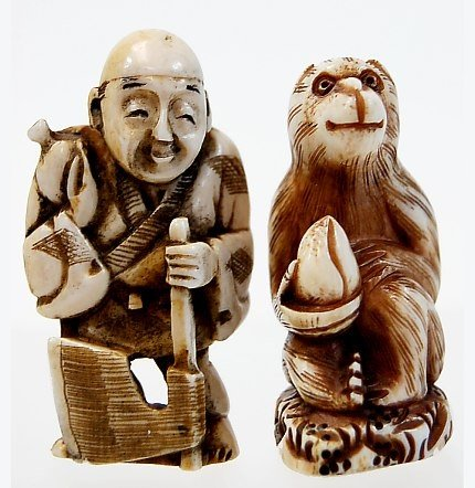 16A: Pair of Japanese carved ivory netsukes
