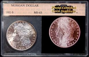 1881 S Morgan slabbed silver dollar