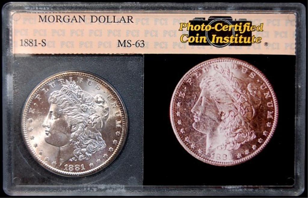 1: 1881 S Morgan slabbed silver dollar