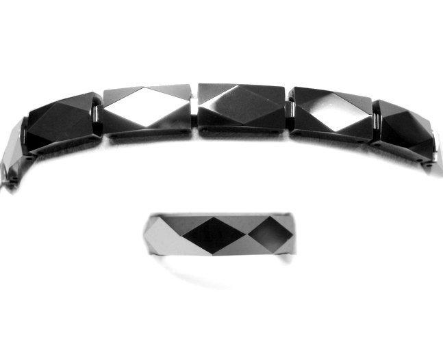 2: Tungsten men's mirror-polished bracelet ring set