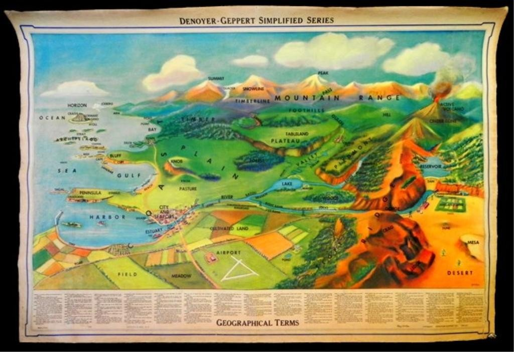 5: Geographical Map on linen,