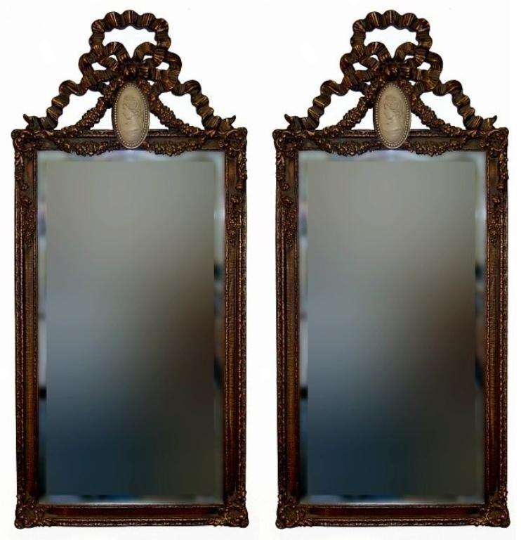 10: Bombay cameo beveled mirror pair