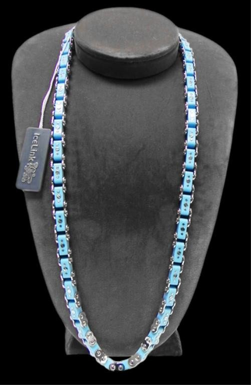 14: Blue Ice Link bicycle chain necklace
