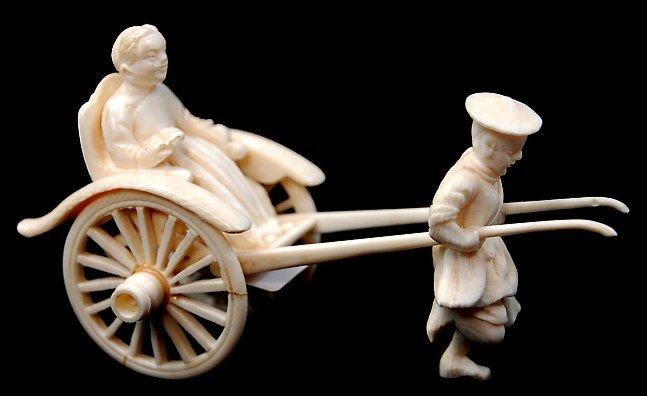 15: Chinese ivory carving rickshaw figure