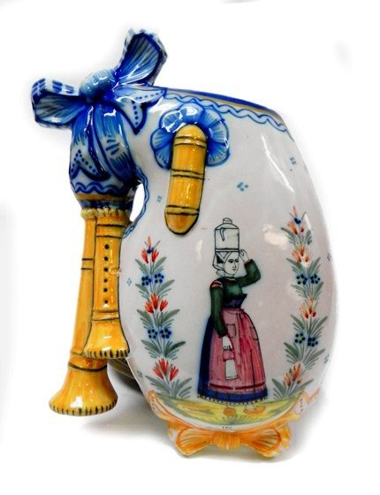 18: French pottery HenRiot Quimper wall pocket