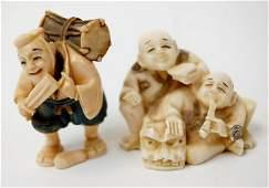 70 Japanese carved ivory netsuke pair