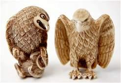 77 Japanese carved ivory netsuke pair