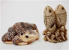 80 Japanese carved ivory netsuke pair