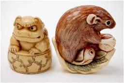 84 Japanese carved ivory netsuke pair