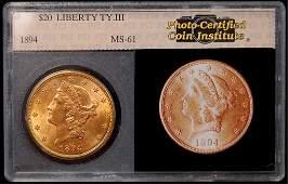 90: 1894 U.S. $20 Liberty gold piece