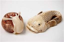102 Japanese carved ivory netsuke pair