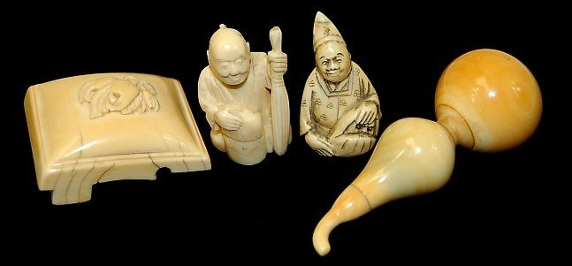 6: Lot of 4 Japanese ivory pieces